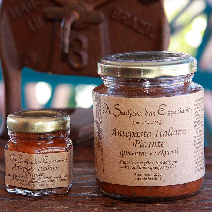 Antepasto italiano picante produzido por A Senhora das Especiarias em Gonçalves MG.