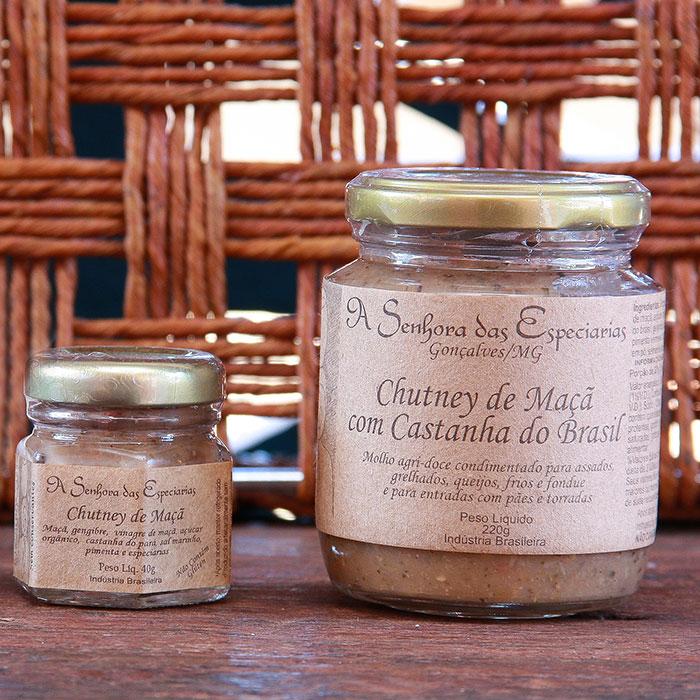 Chutney de maça com castanha do Brasil produzida por A Senhora das Especiarias em Gonçalves MG.