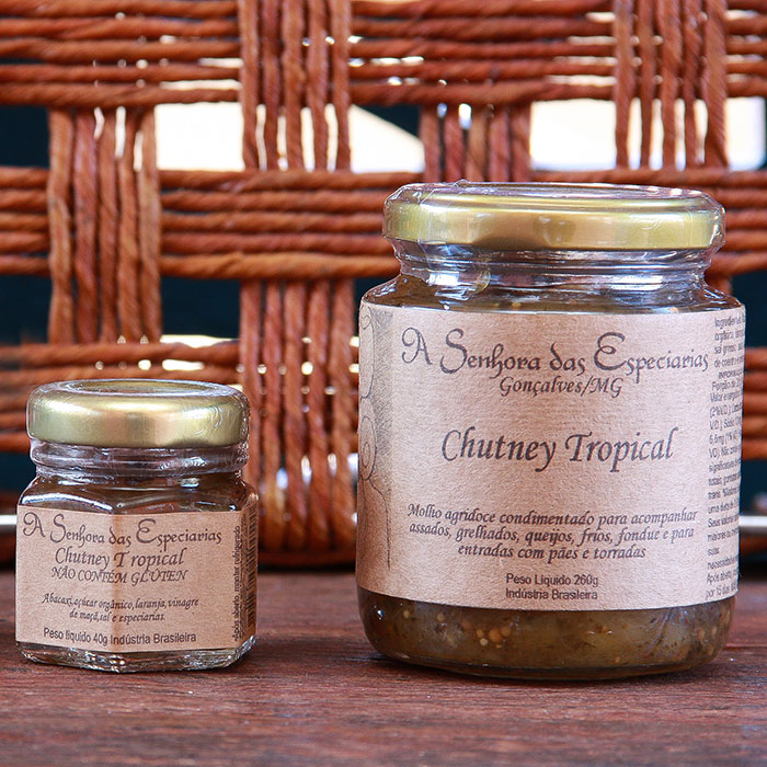Chutney tropical produzida por A Senhora das Especiarias em Gonçalves MG.