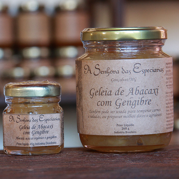 Geleia de abacaxi com gengibre produzida por A Senhora das Especiarias em Gonçalves MG.