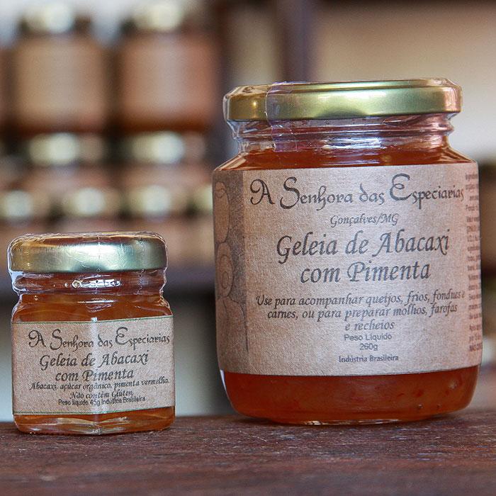 Geleia de abacaxi com pimenta produzida por A Senhora das Especiarias em Gonçalves MG.