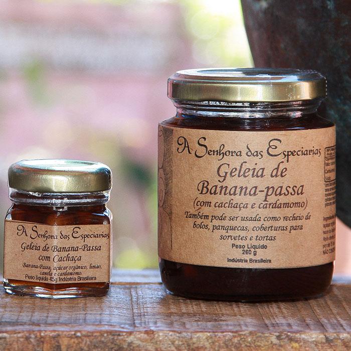Geleia de banana-passa produzida por A Senhora das Especiarias em Gonçalves MG.