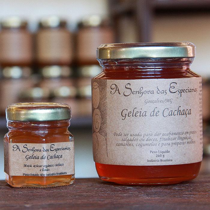 Geleia de cachaça produzida por A Senhora das Especiarias em Gonçalves MG.