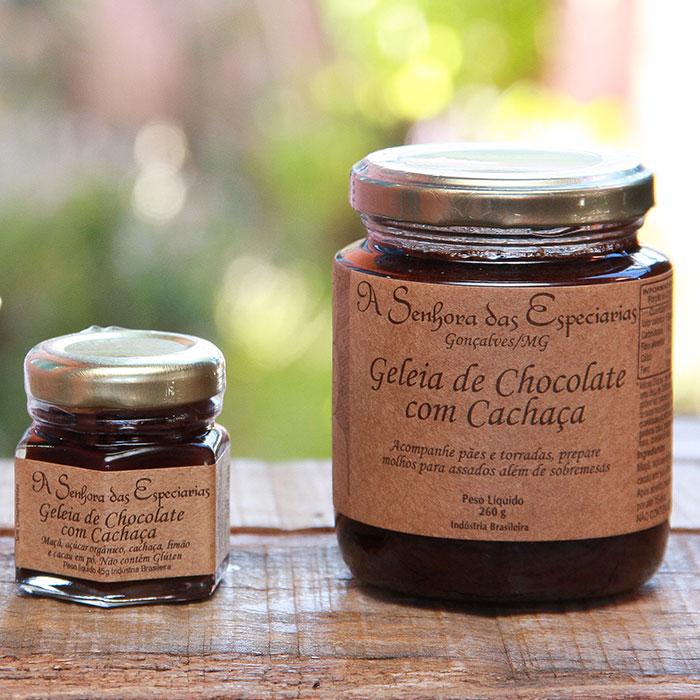 Geleia de chocolate com cachaça produzida por A Senhora das Especiarias em Gonçalves MG.