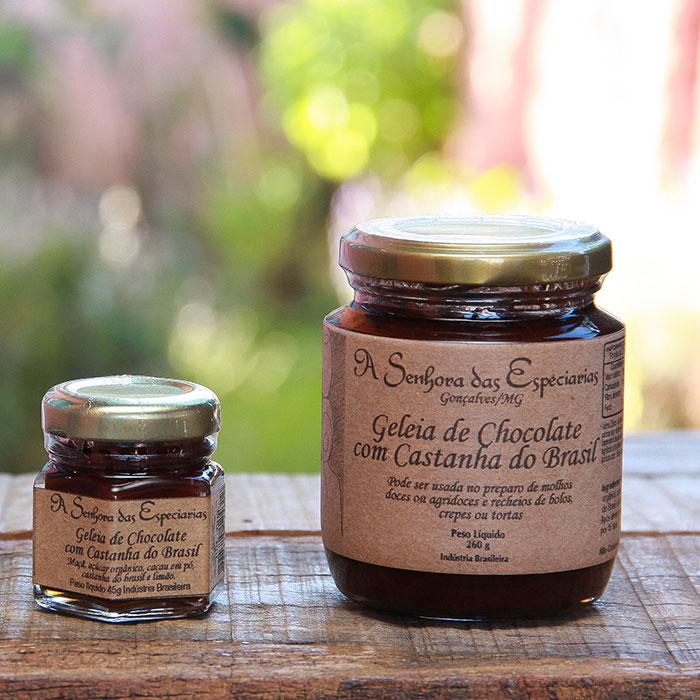 Geleia de chocolate com castanha do Brasil produzida por A Senhora das Especiarias em Gonçalves MG.