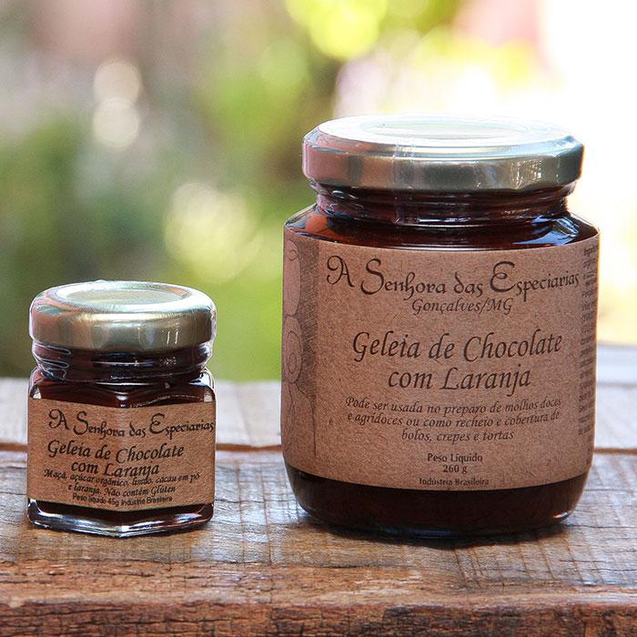 Geleia de chocolate com laranja produzida por A Senhora das Especiarias em Gonçalves MG.