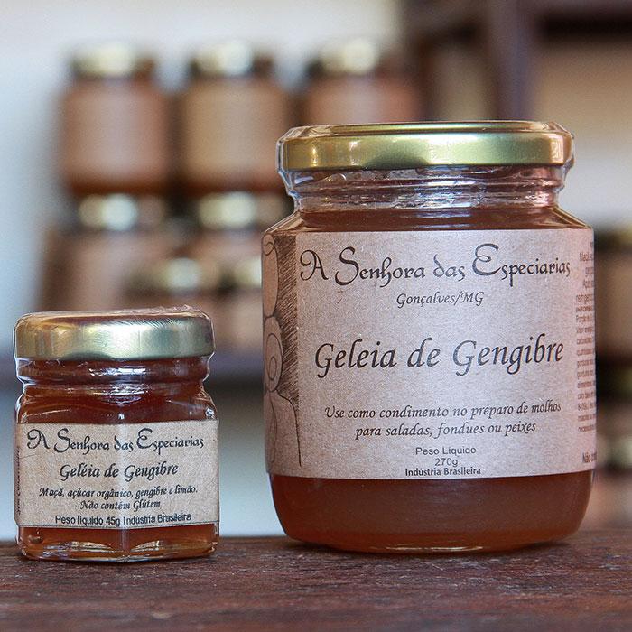 Geleia de gengibre produzida por A Senhora das Especiarias em Gonçalves MG.