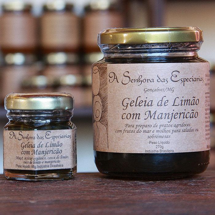 Geleia de limão com manjericão produzida por A Senhora das Especiarias em Gonçalves MG.