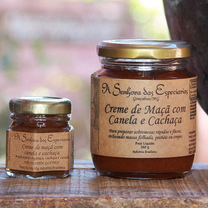 Creme de maça com canela e cachaça produzida por A Senhora das Especiarias em Gonçalves MG.