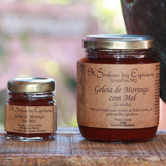 Geleia de morango com mel produzida por A Senhora das Especiarias em Gonçalves MG.