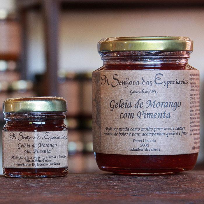 Geleia de morango com pimenta produzida por A Senhora das Especiarias em Gonçalves MG.