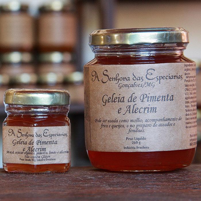 Geleia de pimenta e alecrim produzida por A Senhora das Especiarias em Gonçalves MG.