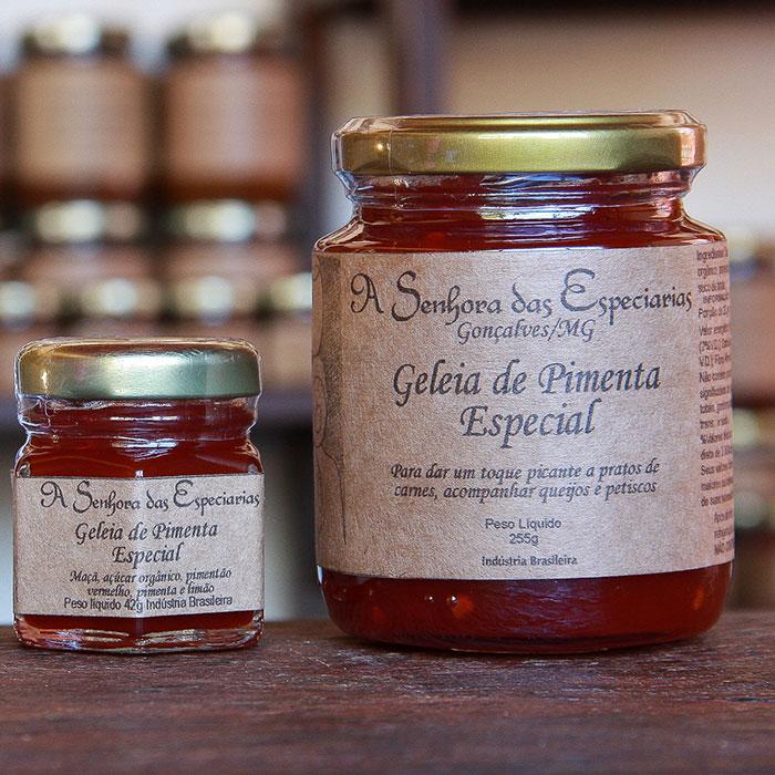 Geleia de pimenta especial produzida por A Senhora das Especiarias em Gonçalves MG.