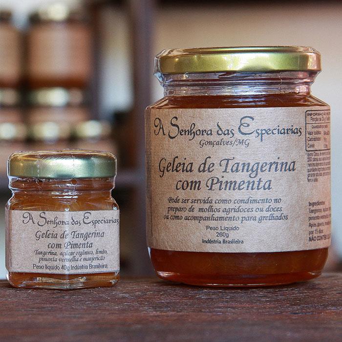 Geleia de tangerina com pimenta produzida por A Senhora das Especiarias em Gonçalves MG.