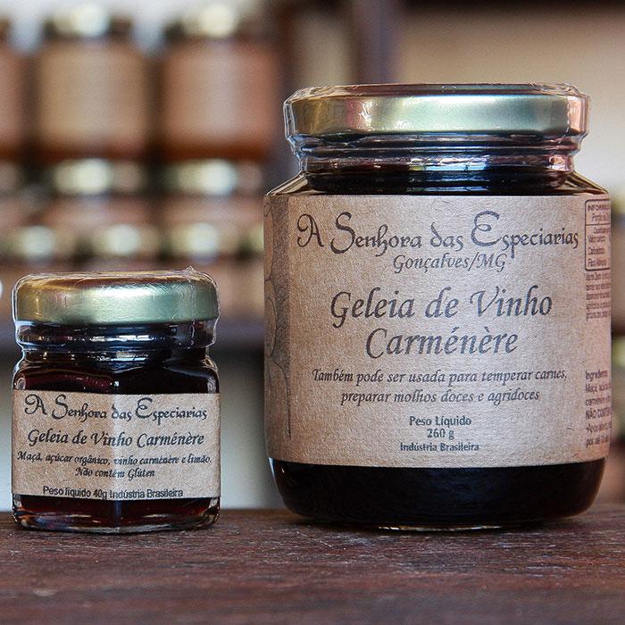 Geleia de vinho carménère produzida por A Senhora das Especiarias em Gonçalves MG.