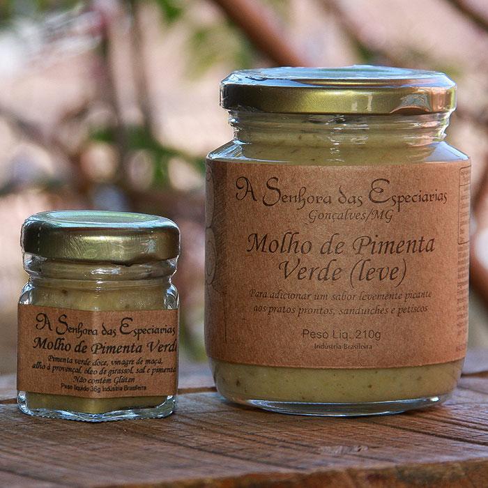 Molho de pimenta verde (leve) produzida por A Senhora das Especiarias em Gonçalves MG.