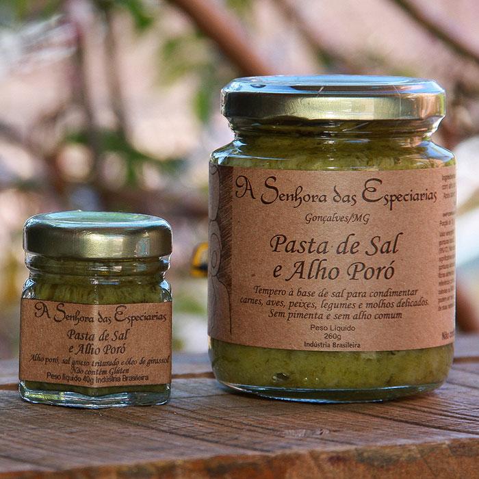 Pasta de sal e alho-poró produzida por A Senhora das Especiarias em Gonçalves MG.