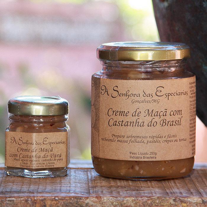 Creme de maça com castanha do Brasil produzida por A Senhora das Especiarias em Gonçalves MG.