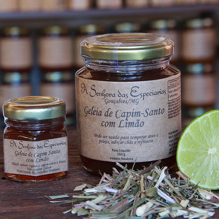 Geleia de capim-santo com limão produzida por A Senhora das Especiarias em Gonçalves MG.