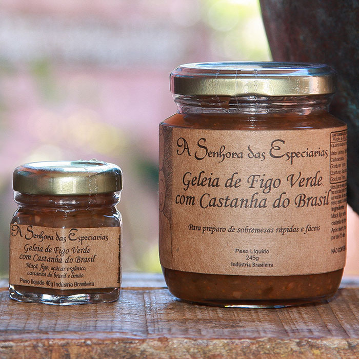 Geleia de figo verde com castanha do Brasil produzida por A Senhora das Especiarias em Gonçalves MG.