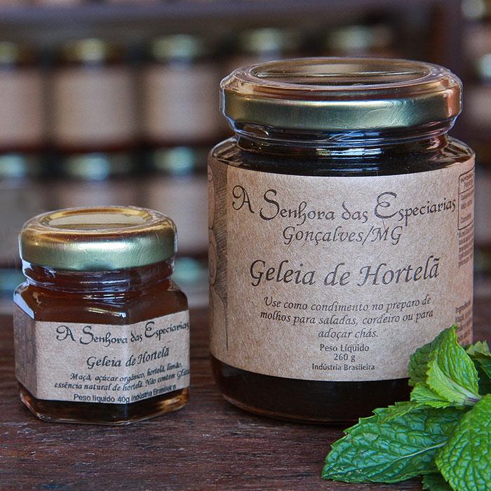 Geleia de hortelã produzida por A Senhora das Especiarias em Gonçalves MG.