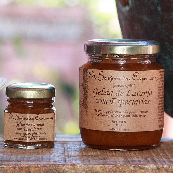 Geleia de laranja com especiarias produzida por A Senhora das Especiarias em Gonçalves MG.