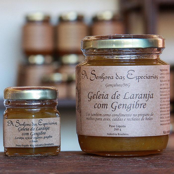 Geleia de laranja com gengibre produzida por A Senhora das Especiarias em Gonçalves MG.