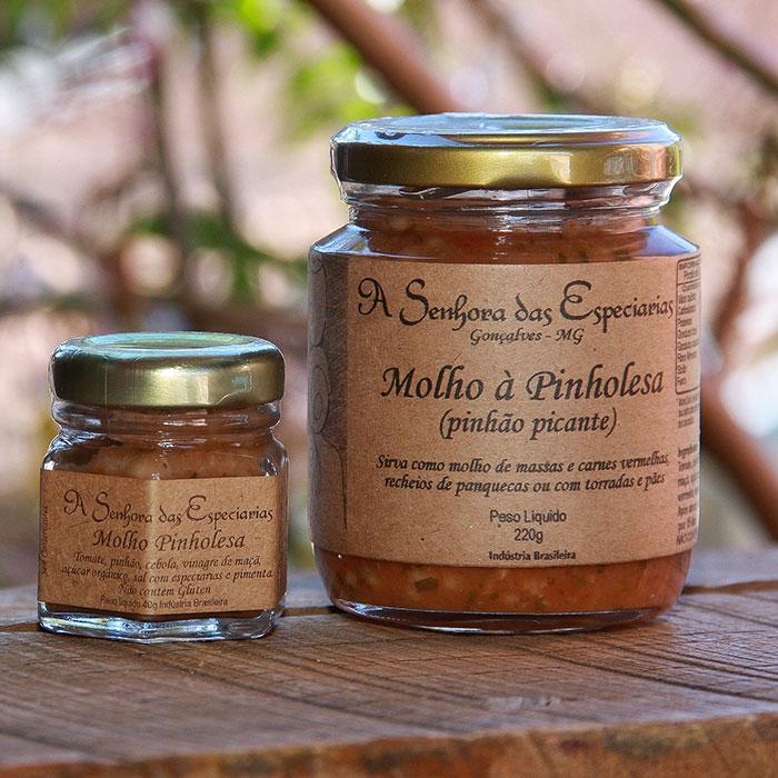 Molho de pinholesa produzida por A Senhora das Especiarias em Gonçalves MG.